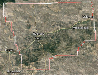 Musselshell County Map and County towns
