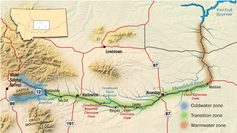 Musselshell River Map Montana Roundup Musselshell County