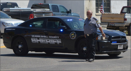 County Sheriff Michael Thomas at a road block